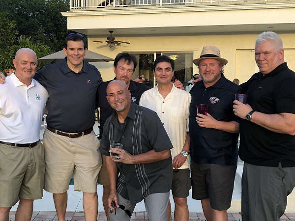Mickey Cunningham, Jim Goulden, Michael Keane, John Carbone,   Jim Quern & John Rhatigan with James Carbone '79 in Florida