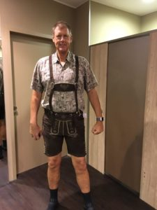 Getting dressed in lederhosen for the Biergarten