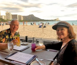 Scott & Sandy Douglas 19th Anniversary with Diamond Head in the background on our way back from New Zealand