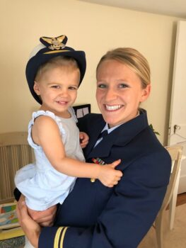 Dan & Carrie's younger daughter Dana (USCG) with oldest Grand daughter Annie